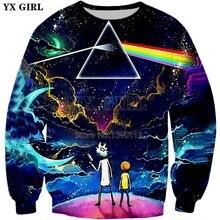 YX GIRL Drop shipping 2018 New Fashion 3D hoodies Cartoon Rick Morty Sweatshirt Rainbow Starry Sky Printed Unisex pullovers