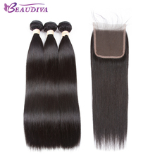 BEAUDIVA Pre-Colored 1# Jet Black Peruvian Straight Three Bundles with 4*4 Closure One Pack Remy Human Hair(China)