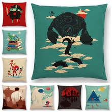 Hot Sale Interesting Magical Cartoon World Pirate Huge Robot Snow Monster Cushion Cover Car Home Decor Sofa Throw Pillow Case