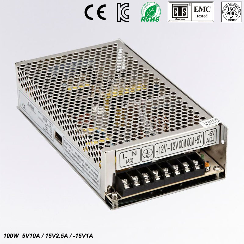 Triple Output power supply 100W 5V 10A 15V 2.5A -15V 1A ac to dc power supply T-100C high quality CE approved<br>