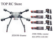 ZD550 ZD 550 Carbon Fiber Quadcopter Frame Kit with carbon fiber landing skid 3508 580KV Brushless Motor + 40A ESC OPTO 2-6S ESC