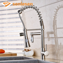 New Arrival Best Price Kitchen Sink Mixer Faucet with Hot Cold Pipes Deck Mounted Brushed
