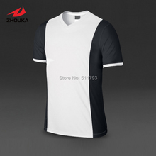 Custom Soccer Jersey tops Short-sleeve Quick Dry Top quality Adult Kids V-neck 100%polyester(China)