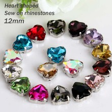 Free shipping Heart shaped glass sew on rhinestones,Apparel accessories 20pcs/bag 12mm