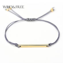 Women Fashion Double Layer Rope Bracelets & Bangles Gold Zinc Alloy Gold Tube Pendant Adjustable Bracelets Jewelry Girl Gift(China)