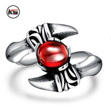2016 New Design Vintage Punk Red Crystal Dragon Claw Ring Bicycle Mechanical Boom 316L Stainless Steel Men's Ring 8-11Code