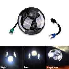 "7"" Inch Round Led Headlight Motorcycle Led Headlamp Head Light 7"" Daymaker Projector Headlight Halo DRL For Jeep Wrangler Harley(China)"
