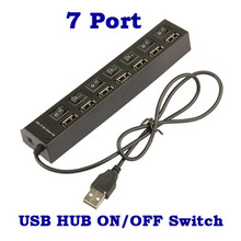 Black 7 Ports USB Cable 2.0 Hub Sharing Switch USB Power Splitter Hub with Individual Switch For Laptop Desktop