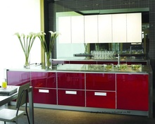 High gloss/lacquer kitchen cabinet mordern(LH-LA074)(China)