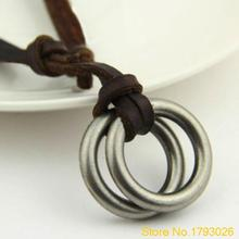 Charm Circle Pendant Brown Genuine Leather Retro Lover's Necklace for Birthday gift 4TC6