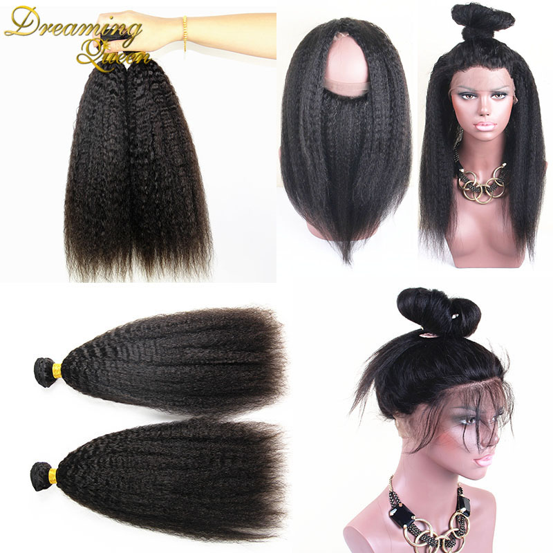 8A Mink Brazilian Kinky Straight Hair With 360 Closure 2 Bundles With 360 Frontal Cheap Human Hair Weft Bundles With 360 Closure<br><br>Aliexpress