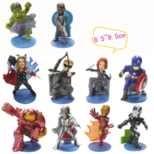 2016 NEW Cartoon The Avengers 2 Super Hero Hulk/ Thor /Iron Man/Black Widow 10cm Action PVC Figures Model Toys 10PCS/SET