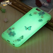 KISSCASE Luminous Soft TPU Case for iPhone 6 6S 7 Plus Transparent Clear Flower Diamond Cover for iPhone 6 6S 7 Plus Protective