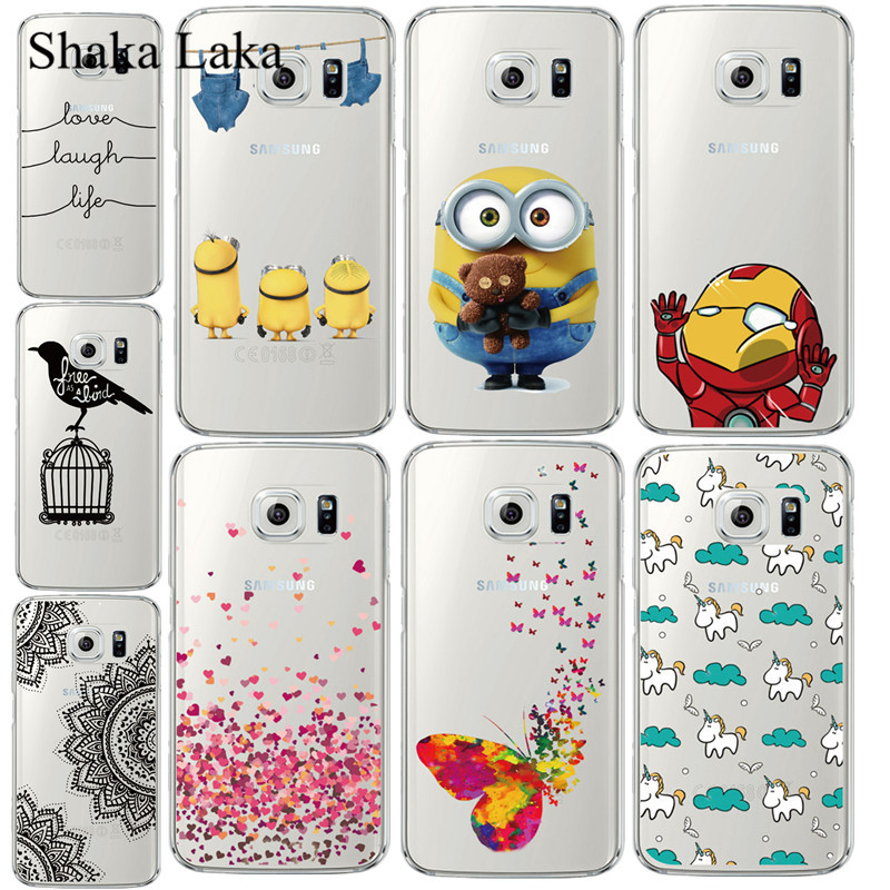 Shaka Laka For Samsung Galaxy S6 Edge G9250 Case Minions Butterfly Silicone Back Cover TPU Frame Case For Samsung S6 Edge Plus(China)