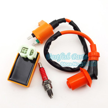 Racing Ignition Coil & 6 pin AC CDI & A7TC Spark Plug For Chinese GY6 50cc 125cc 150cc Moped Scooter Pit Dirt Bike ATV Quad(China)