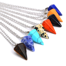 New Long Natural Stone Pendant nice Necklaces Triangular pyramid Waterdrop  Opal  Stone Necklace Link Chains