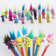 5pcs/lot Trolls Toy With Pencil Cap Function The Good Luck Trolls Doll Movie Roles Action Figures Model PVC Toys Gifts For Kids