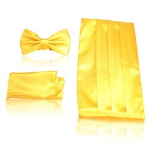 men's Cummerbunds pocket square solid bow tie set Sash wide Belts ceremonial belt