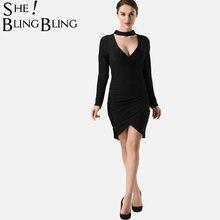 SheBlingBling Glitter Knit Women Mini Dress Spring Autumn Fashion Long  Sleeve Choker Neck Plunging Dress Bodycon Dress 383c10fac5f2