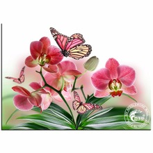 Diy Round Diamond Painting Cross Stitch Orchid And Butterfly Crystal Rhinestone Rubik'S Cube Mosaic Picture Diamond Embroidery