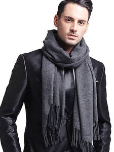 Male Scarves Faux-Cashmere Elegant Black Winter Women Classic Plaid Men's Gray for Red