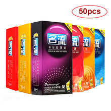 Buy Ultra Thin Condoms men Delay Ejaculation 50pcs Condom Safer Contraception Sex Products 5 Types Lubricating Condoms