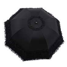 FJS!Women's Princess Dome/Birdcage Sun/Rain Folding Umbrella For Wedding Lace Trim black