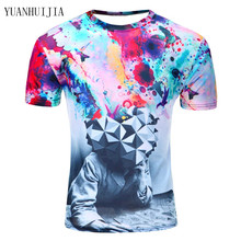 2016 Men Fashion 3D Animal Creative T-Shirt, Lightning/smoke lion/lizard/water droplets 3d printed short sleeve T Shirt M-4XL