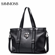 SAMMONS Men Genuine Leather Handbag Male Leisure Tiger Shoulder Crossbody Tote Purse Man Large Capacity Laptop Briefcase 190428