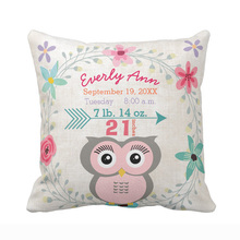 Custom Birth Stats Baby Girl Forest Creature Pink Owl Cotton Canvas Throw Pillow Cover Decorative Cushion Cover for Sofa Seat