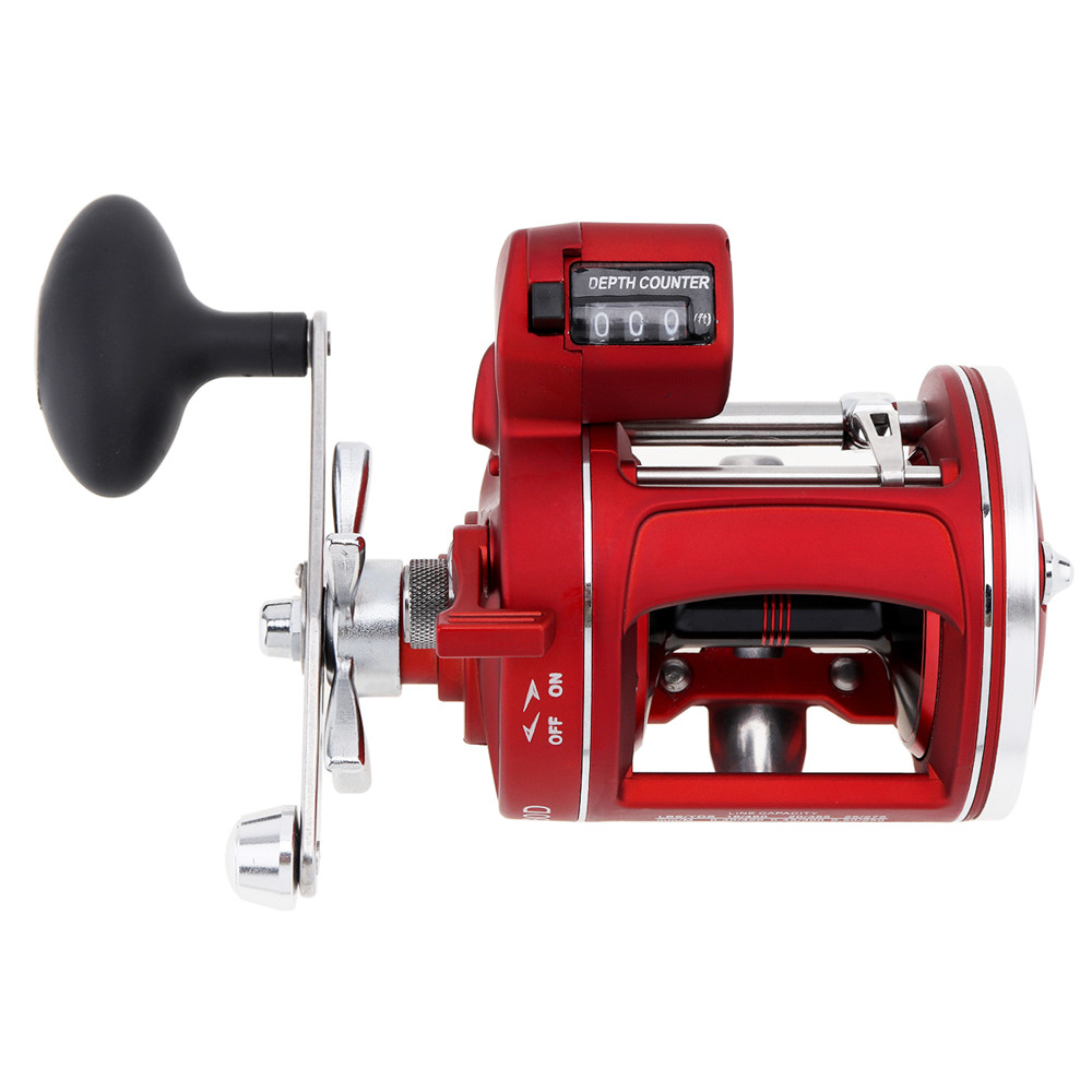 Quality 12 Ball Bearing 3.8:1 Gear Ratio High Strength Body Cast Drum Wheel Casting Fishing Reel with Depth Counter<br>
