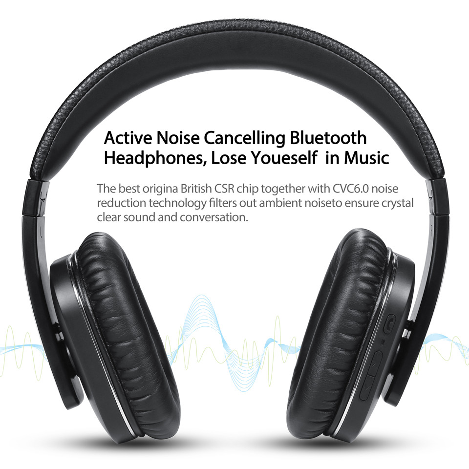 August EP750 Active Noise Cancelling Wireless Headphones with Mic