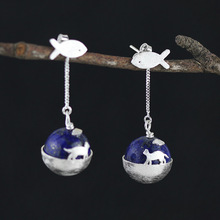Cats Dream 925 Sterling Silver Creative lapis lazuli Cat Drop Earrings for Women(China)