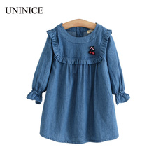 UNINICE New 2017 Spring Girls Denim Dress Children Clothing Casual Style Ruffles Sleeve Design Princess Girl Dress Kids Clothes(China)
