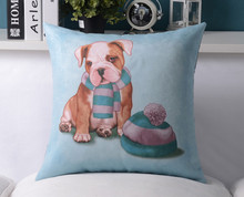Retro hand-painted Cartoon dog Cushion Cover Leather Cashmere pillow cover  for office home Decoration sofa cushions