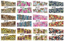 12 PACK/ LOT WATER DECAL NAIL ART NAIL STICKER SLIDER TATTOO FULL COVER FLOWER TIGER LEOPARD SKIN PATTERN A109-120(China)