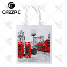London City Retro Red bus and Telephone Boxes Print Custom Non-Woven Fabric Reausble Grocery Shipping Storage bag Pack of 4
