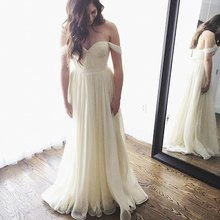 Romantic Beach Ivory Wedding Dress 2017 Off The Shoulder Chiffon Bridal Dresses Sweetheart Lace Up Vestido De Festa Tailored