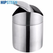 HIPSTEEN Stainless Steel Swing Lid Mini Trash Can Bin Garbage box Desktop Storage Barrels Rubbish Bin - Silver