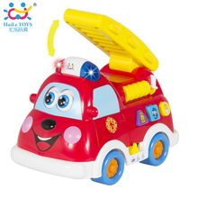 Free Shipping Baby Toy Truck Fire Truck Car With Music + Light Boy Toy Spanish & English Language Kids Learning Educational Toy(China)