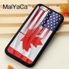 Canada American Flag Style Soft Rubber Back Case Cover For iPhone 6 6S Plus 7 7 Plus 5 5S 5C SE 4 4S Mobile phone bag