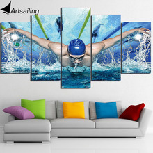 HD Printed 5 Piece Canvas Art Swimming Pool Fitness Gym Poster Painting Wall Pictures for Living Room Free Shipping NY-6929C