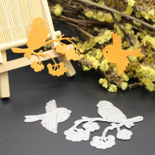 Birds On Branch Cutting Dies Winter Scrapbook Card Paper Craft Embossing Stencil Punch(China)
