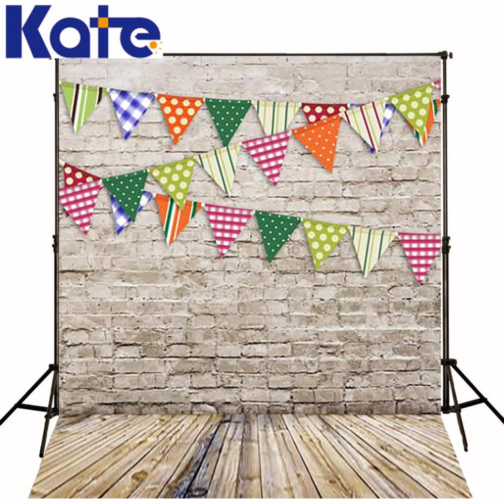 Kate Photo Studio Bunting Vintage Wooden Brick Wall Backgrounds Photography Background Photography Backdrops for photo<br>