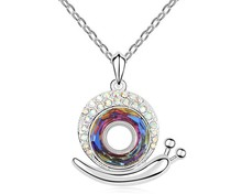 Austrian Multicolored Crystal Snail Necklace Pendant Animal Jewelry For Females Mum Gifts Wedding Jewellery Accessories NXL0128