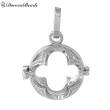 DoreenBeads Copper Wish Box Pendants Round Silver Tone Flower Carved Hollow Can Open (Fit Bead Size: 16mm) 36mm x 25mm, 1 PC
