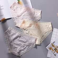 Buy New Stripe Ice Silk Women Briefs Sexy Lace Seamless Panties Low Waist Breathable Soft Underwear Thin Knickers Calcinha Underpant