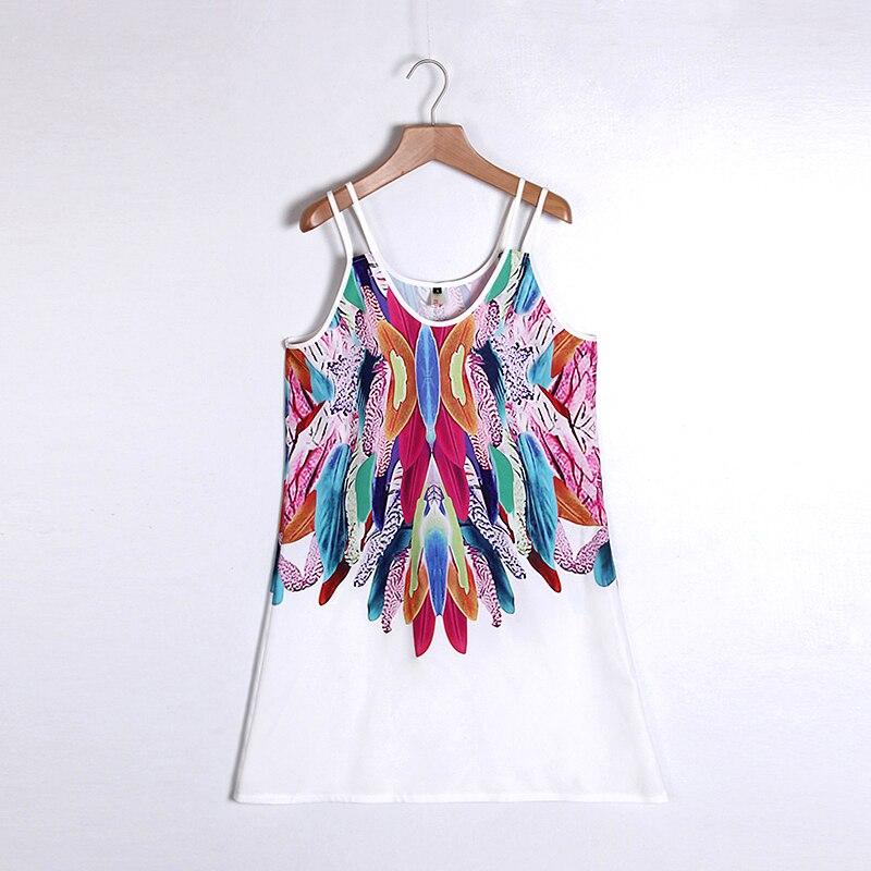 Women Bohemian Dress Feather Printed Beach Dress Causal Loose Spaghetti Strap Short Summer Dress S-5XL Plus Size Robe WS804O 7