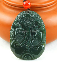 100% Natural Real HeTian Jade Hand Carved Dragon Fish Lucky Blessing pendants Green Jade Pendant + free Necklace Fashion Jewelry