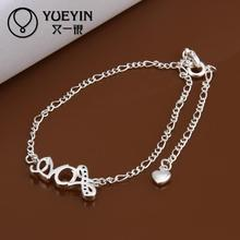 Accessories Fashion silver plated Jewerly Anklets for Female Bridal Party Wedding jewelry Ornaments Ankle chain bracelets(China)
